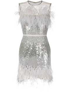 Jenny Packham платье с пайетками и перьями