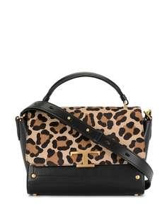 Tods сумка-тоут с леопардовым принтом и логотипом Tod'S