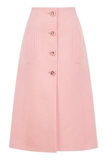 Розовая шерстяная юбка Prada