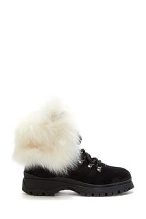 Замшевые черные ботинки Prada