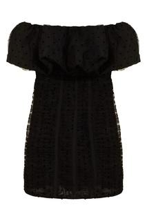 Черное платье-бандо с оборкой Self Portrait