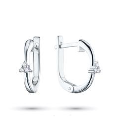 Серьги из серебра с бриллиантом э0601сг05158400 ЭПЛ Якутские Бриллианты