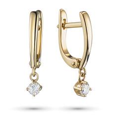 Серьги из золота с бриллиантом э0301сг10200132 ЭПЛ Якутские Бриллианты