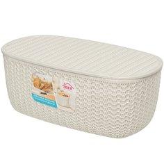Хлебница пластиковая Idea Вязание М1187 белый ротанг, 14х33.5х19 см