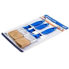 Набор плоских кистей Акор Эмали, с пластиковой ручкой и натуральной щетиной, 25х10 мм, 35х10 мм, 50х12 мм
