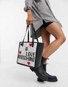 Черная сумка-шоппер с вышивкой и отделкой цвета слоновой кости Love Moschino-Черный цвет