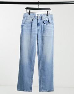 Голубые джинсы прямого кроя в стиле 90-х Bershka-Голубой