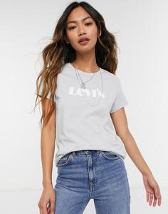 Идеальная серая футболка с логотипом Levis-Голубой