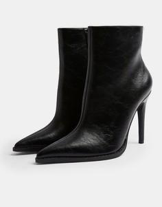 Черные ботинки на молнии с заостренным носом Topshop-Черный