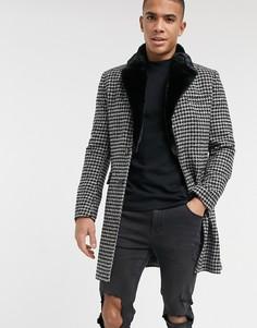Пальто с воротником из искусственного меха и узором в ломаную клетку Gianni Feraud-Черный цвет