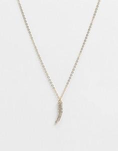 Золотистое ожерелье-цепочка с подвеской в форме клыка Topman-Золотистый