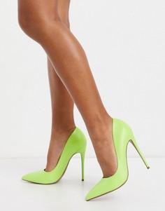 Туфли-лодочки на шпильке лаймового цвета ASOS DESIGN-Зеленый цвет