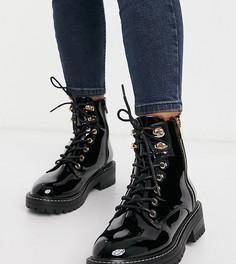 Черные лакированные ботинки для широкой стопы на шнуровке River Island-Черный цвет