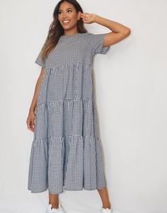 Ярусное платье миди из поплина в клетку Missguided-Многоцветный