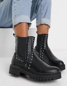 Черные ботинки челси на массивной подошве с заклепками Schuh Austin-Черный цвет