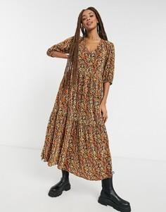 Плиссированное платье макси с V-образным вырезом, ярусной юбкой, длинными рукавами и осенним цветочным принтом ASOS DESIGN-Многоцветный