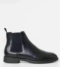 Черные ботинки челси для широкой стопы из искусственной кожи с черной подошвой ASOS DESIGN-Черный цвет