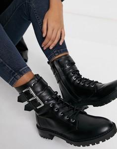 Черные байкерские ботинки с пряжкой Bershka-Черный цвет