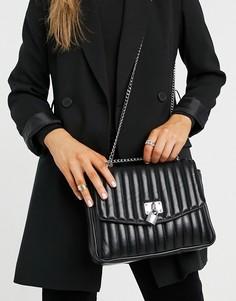 Черная стеганая сумка через плечо с декоративным навесным замочком ASOS DESIGN-Черный цвет