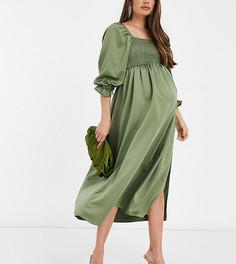 Присборенное атласное платье макси цвета хаки ASOS DESIGN Maternity-Зеленый цвет