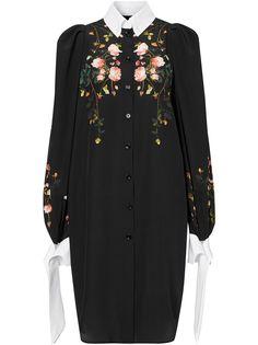 Burberry крепдешиновое платье-рубашка с принтом