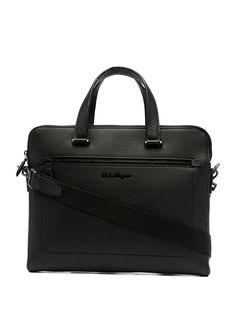 Salvatore Ferragamo фактурная сумка-мессенджер с логотипом