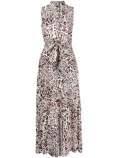 Pinko платье миди с леопардовым принтом