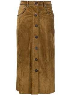 Golden Goose юбка миди с заклепками