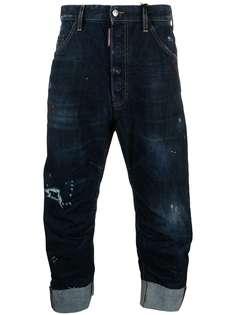 Dsquared2 укороченные джинсы с эффектом потертости