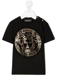Versace Kids футболка с принтом Medusa и эффектом металлик