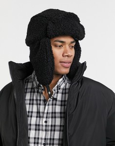 Черная шапка-ушанка из плюша ASOS DESIGN-Черный цвет