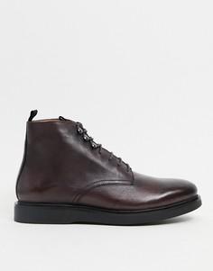 Бордовые кожаные ботинки H by Hudson-Красный