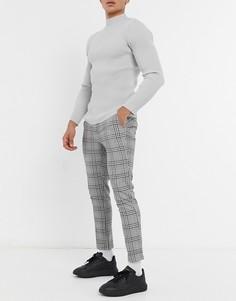 Облегающие брюки в клетку с поясом на резинке ASOS DESIGN-Черный цвет