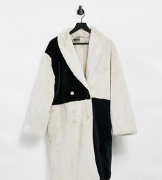 Шуба в стиле унисекс с черным и кремовым дизайном «пэчворк» Reclaimed Vintage Inspired-Многоцветный