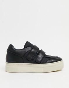 Черные кожаные кроссовки на массивной подошве Selected Femme-Черный цвет