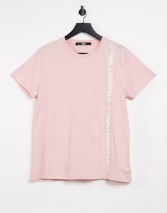Розовая футболка с логотипом Karl Lagerfeld Athleisure-Розовый цвет