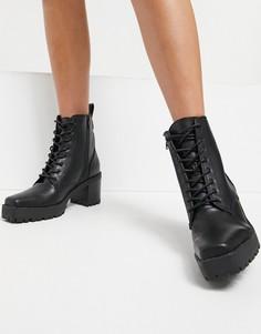 Черные ботинки на шнуровке с квадратным носком NA-KD-Черный цвет