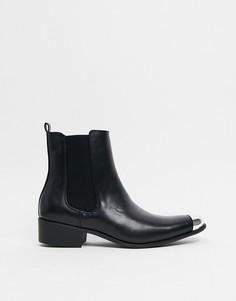 Черные ботинки челси в стиле вестерн с отделкой на носке Truffle Collection-Черный цвет