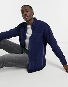 Темно-синяя рубашка в стиле oversized из вельвета в рубчик New Look-Темно-синий
