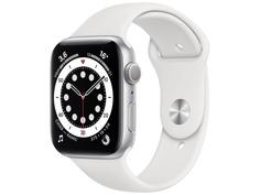 Умные часы APPLE Watch Series 6 44mm Silver Aluminium Case with White Sport Band M00D3RU/A Выгодный набор + серт. 200Р!!!