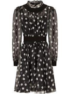 Dolce & Gabbana сетчатое платье мини в горох