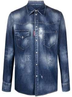Dsquared2 джинсовая рубашка с эффектом потертости