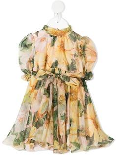 Dolce & Gabbana Kids платье с цветочным принтом и складками