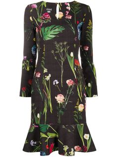Boutique Moschino платье с оборками и цветочным фотопринтом