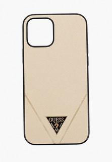Чехол для iPhone Guess 12/12 Pro (6.1), PU Saffiano Triangle metal logo Gold