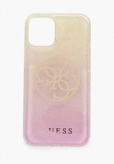 Чехол для iPhone Guess 12 mini (5.4), PC/TPU 4G Circle Logo Glitter Gradient Gold/Pink
