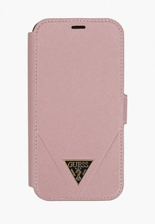 Чехол для iPhone Guess 12/12 Pro (6.1), PU Saffiano Triangle metal logo Pink