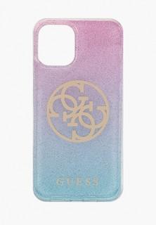 Чехол для iPhone Guess 12 mini (5.4), PC/TPU 4G Circle Logo Glitter Gradient Pink/Blue