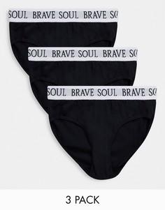 Набор из 3 трусов черного цвета Brave Soul-Черный цвет