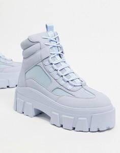 Голубые ботинки из искусственного нубука на массивной подошве со шнуровкой ASOS DESIGN-Голубой